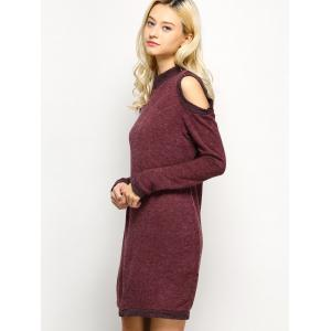 Long Sleeve Cold Shoulder High Neck Bodycon Dress - CLARET XL