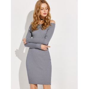 Off The Shoulder Long Sleeve Ribbed Jumper Dress - GRAY ONE SIZE