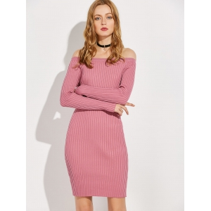 Off The Shoulder Long Sleeve Ribbed Jumper Dress -