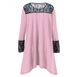 Plus Size Lace Trim Asymmetrical T Shirt Dress - PINK 4XL