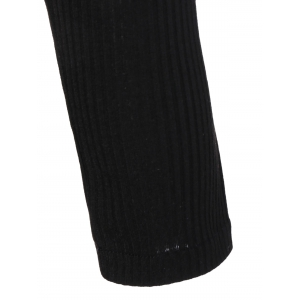 Knit Panel Belted Slit Dress with Pockets -