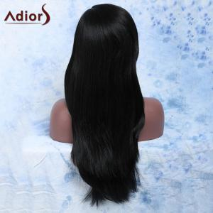 Attractive Black Straight Capless Long Side Bang Synthetic Wig For Women -
