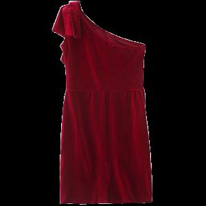 One Shoulder Velvet Short Ruffle Dress - Wine Red - S