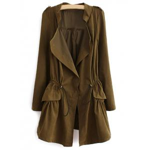Epaulet  Drawstring Coat With Pockets - Army Green - M