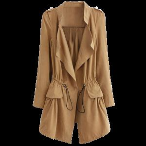 Epaulet  Drawstring Coat With Pockets - Khaki - L