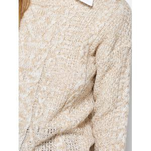 Cable Knit Marled Sweater - KHAKI ONE SIZE