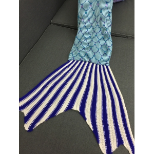 Home Decor Knit Striped Mermaid Blanket Throw - COLORMIX