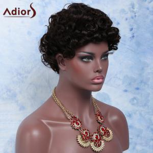 Black Brown Boy Cut Fashion Short Fluffy Curly Synthetic Wig -