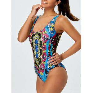 U Neck Printed Swimsuit - MULTICOLOR XL