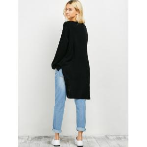 Ripped High Low Long Sweater - BLACK ONE SIZE