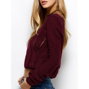 Open Cable Knit Cropped Sweater -