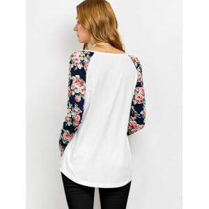 Low Cut Floral Sleeve T-Shirt - WHITE M