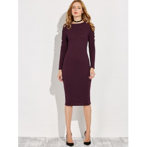 Knitted Criss Cross Ribbed Pencil Dress - WINE RED L