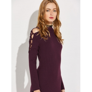 Knitted Criss Cross Ribbed Pencil Dress -