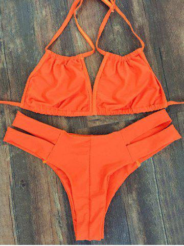 Discount Trendy Lace-Up Orange Women's Bikini Set