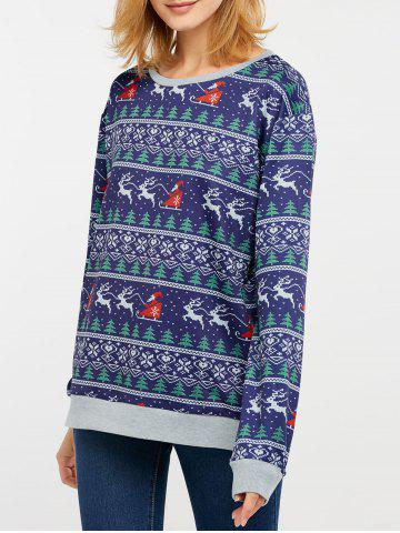 Fancy Christmas Drop Shoulder Sweatshirt BLUE XL