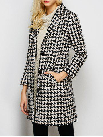 Discount Lapel Single Breasted Houndstooth Coat BLACK XL