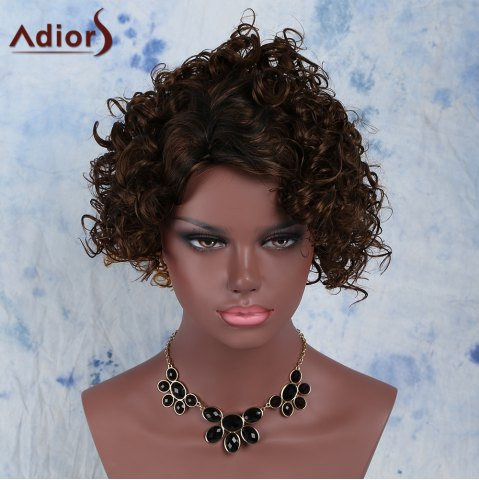 Buy Fashion Black Mixed Brown Synthetic Fluffy Short Curly Capless Wig For Women BLACK/BROWN
