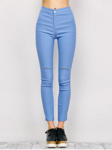 Trendy Ripped High Waist Pencil Jeans - M LIGHT BLUE Mobile