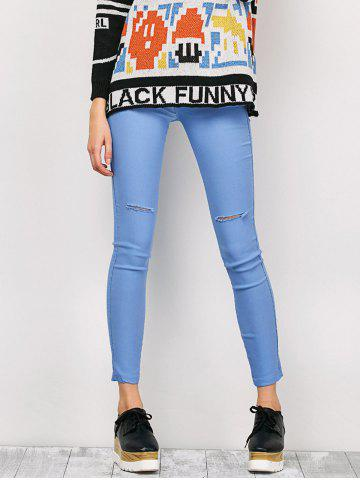 Fancy Ripped High Waist Pencil Jeans - M LIGHT BLUE Mobile