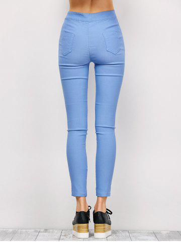 Buy Ripped High Waist Pencil Jeans - M LIGHT BLUE Mobile