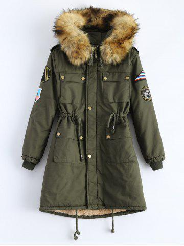 Outfits Hooded Patch Parka Coat