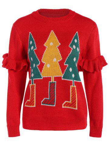 Best Flounced Christmas Tree Sweater RED ONE SIZE