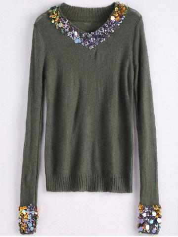 V Neck Sequins Tunic Sweater - Army Green - One Size
