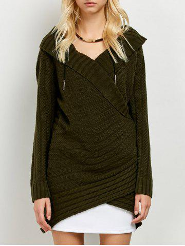 Cheap Crossover Long Sweater ARMY GREEN ONE SIZE