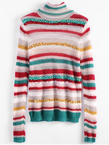 Buy Turtleneck Striped Sequins Sweater