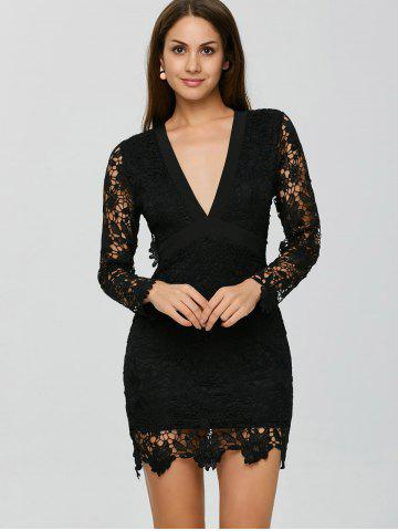 Backless Lace Short Cocktail Party Dress With Sleeves