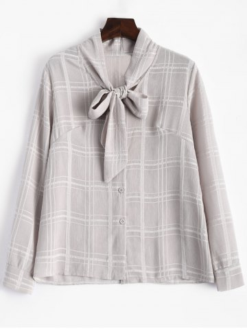 Chic Plaid Pussy Bow Long Sleeves Blouse