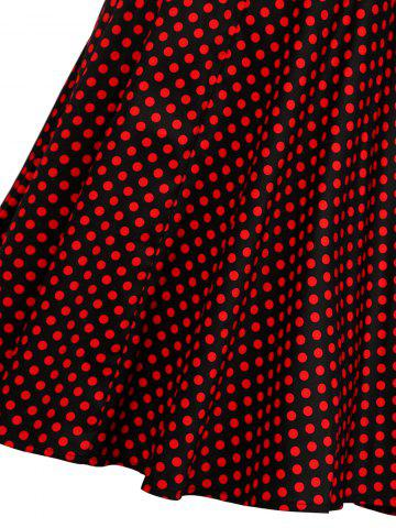 Unique Cap Sleeve Polka Dot Swing Dress - S RED Mobile
