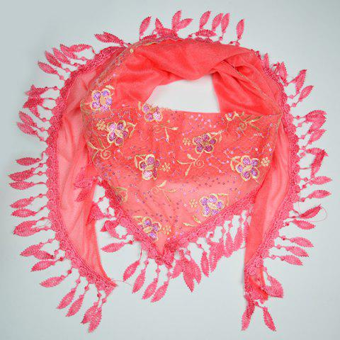Affordable Flower Embroidery Tassel Pendant Edge Triangle Scarf RED