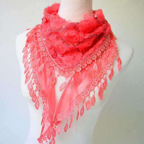 Fashion Sequined Tassel Pendant Edge Rose Shape Lace Triangle Scarf