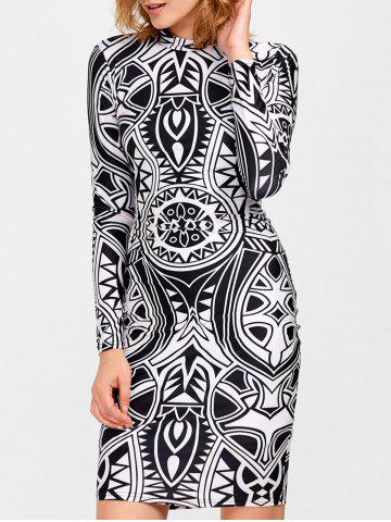 Store Knee Length Tribe Print Bodycon Dress