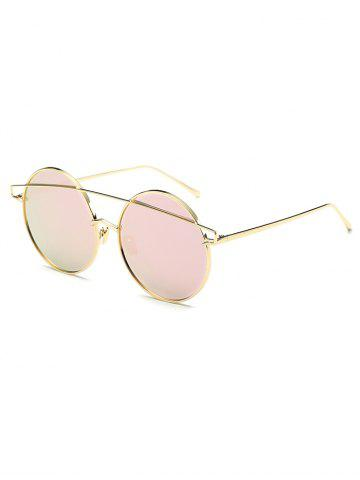Affordable Streetwear Metallic Crossbar Round Mirrored Sunglasses PINK