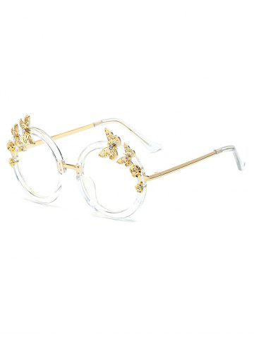 Affordable Rhinestone Butterfly Transparent Lens Oval Sunglasses - TRANSPARENT  Mobile