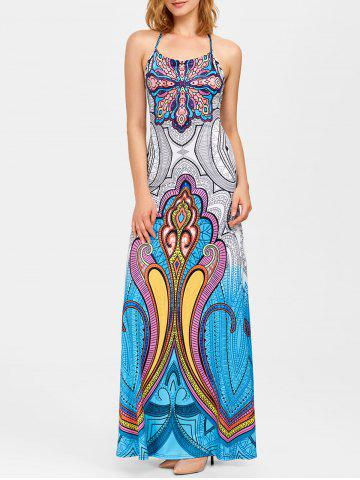 Hot Bohemian Halter Patchwork Print Low Back Maxi Dress BLUE XL