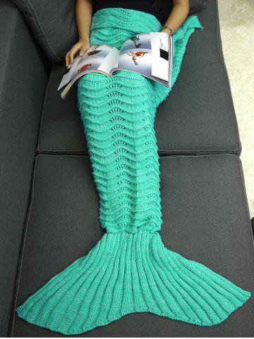 Fashion Wave Stripe Knitted Sleeping Bag Mermaid Blanket