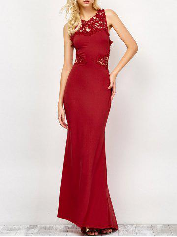 Best Lace Panel Backless Fitted Long Formal Dress DEEP RED M
