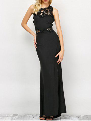 Online Lace Panel Backless Fitted Long Formal Dress BLACK L