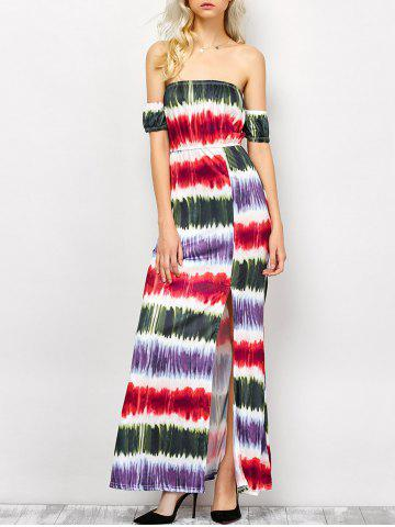 Hot Strapless Tie Dye Striped Maxi Dress