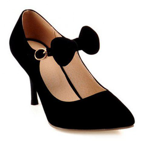 Chic Pointed Toe Bow Stiletto Heel Pumps BLACK 39