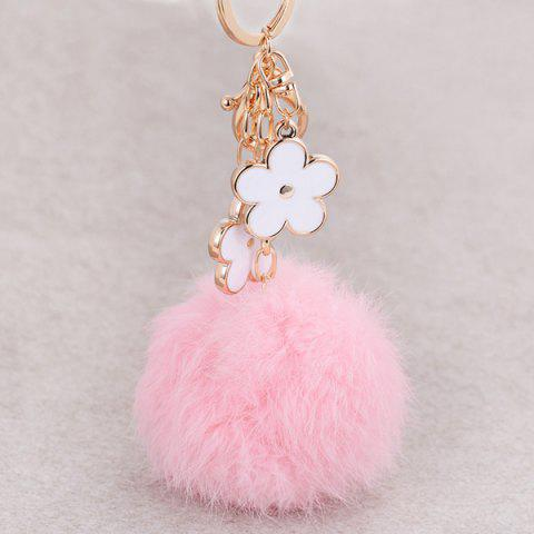New Bag Accessories Fuzzy Pom Ball Keyring - PINK AND WHITE  Mobile