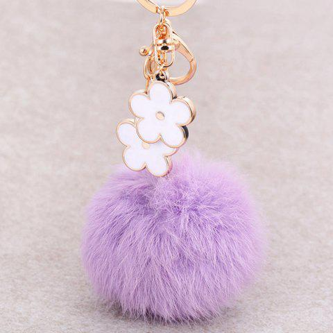 Store Bag Accessories Fuzzy Pom Ball Keyring - WHITE AND PURPLE  Mobile