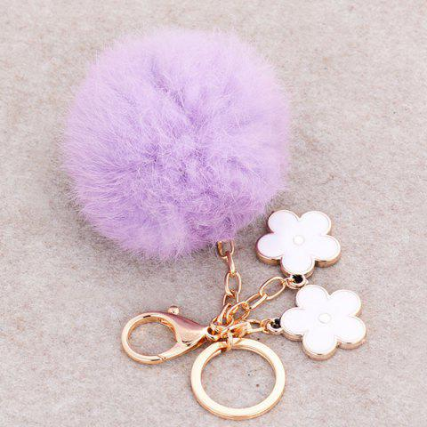 Buy Bag Accessories Fuzzy Pom Ball Keyring - WHITE AND PURPLE  Mobile