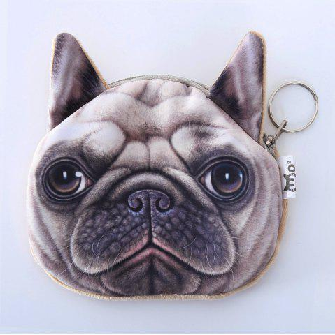 Dog Pattern Colour Splicing Zip Coin Purse - Beige