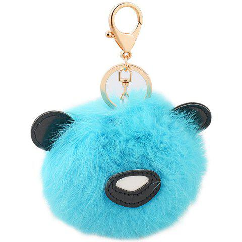 Online Animal Keychains Fur Bear Ball Bag Hanging Keyring WINDSOR BLUE