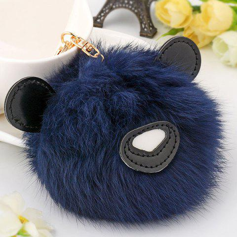 Latest Animal Keychains Fur Bear Ball Bag Hanging Keyring - DEEP BLUE  Mobile